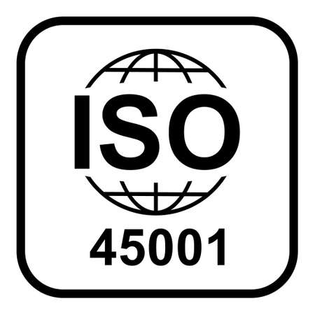 Iso 45001 icon. Occupational Health and Safety. Standard quality symbol. Vector button sign isolated on white background. 矢量图像