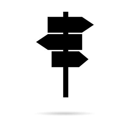 Signpost street vector illustration, road arrow symbol isolated on white background, web pointer. 矢量图像