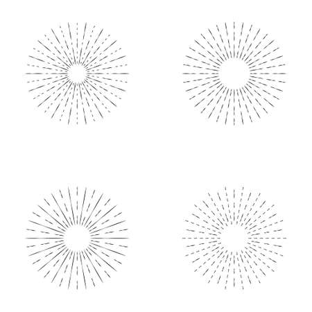Set of sunburst line icon isolated, collection of summer web banner, retro circle design, vector illustration. 矢量图像
