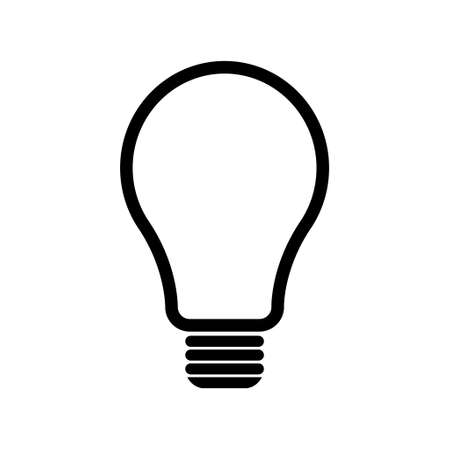 Light bulb icon, Lightbulb energy symbol Electric power vector illustration isolated on white background Black and white design.