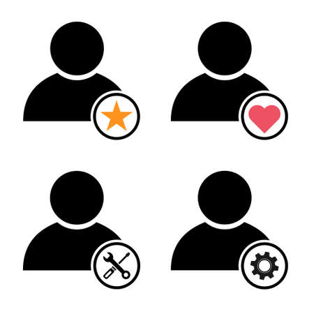 Set of user avatar icon, Collection of social person symbol, business vector illustration, web member.