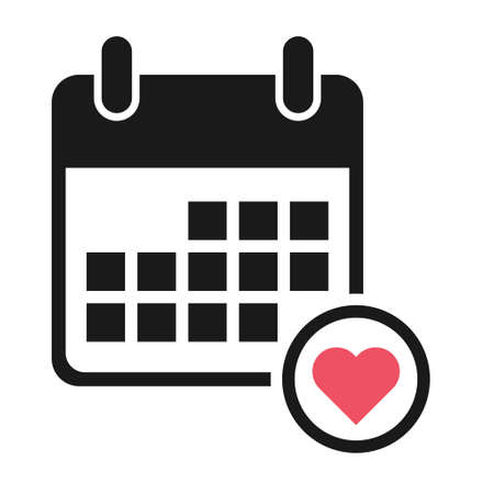 Calendar icon favorite, date event symbol isolated on white background. Vector web button. 矢量图像