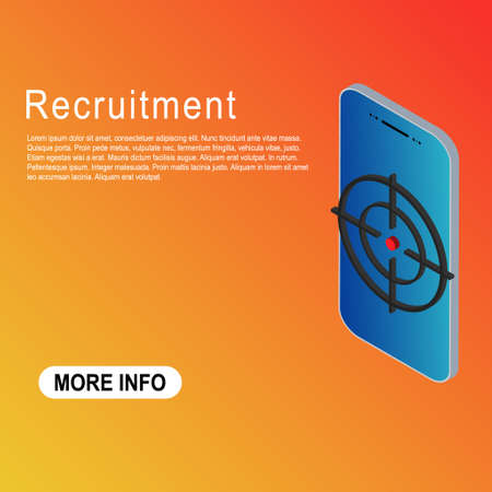 Recruitment template vector icon isometric. Modern target illustration of crosshair symbol for web design. Were hiring.