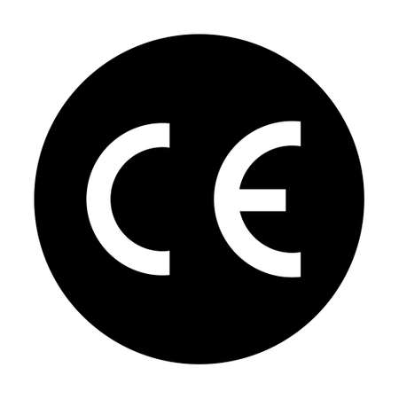 CE mark symbol for conformite europeenne, clean label product, information vector illustration sign.