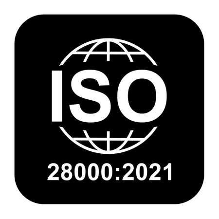Iso 28000: 2021 icon. Security Management Systems. Standard quality symbol. Vector button sign isolated on black background.