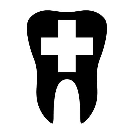 Tooth and hospital cross flat icon isolated on white background. Tooth vector illustration. Dentistry symbol. Dentistry.