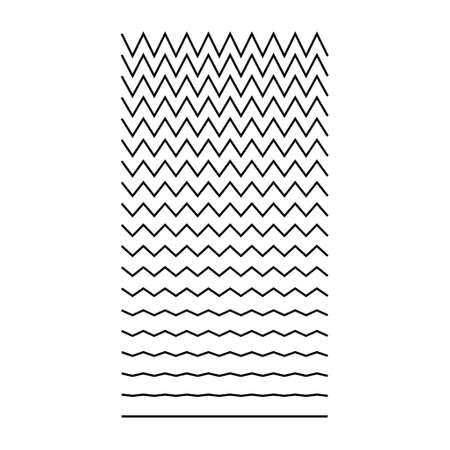 Set of wavy, curvy, zigzag horizontal lines. Vector simple new design element. Illustration