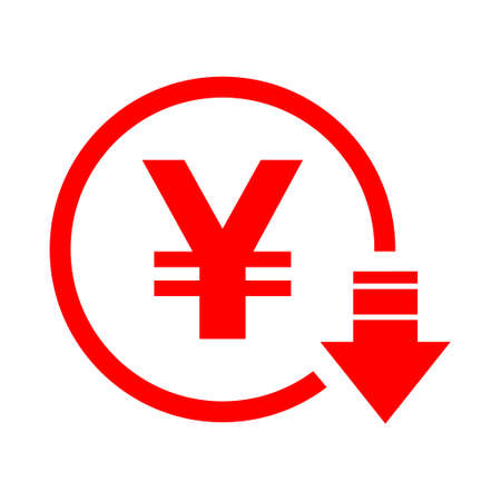 Yen reduction symbol, cost decrease icon. Reduce debt bussiness sign vector illustration.
