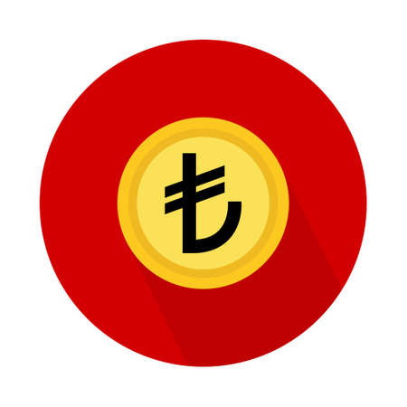 Turkish lira coin icon, money bank flat design, finance symbol for web, logo, app vector illustration. Logó