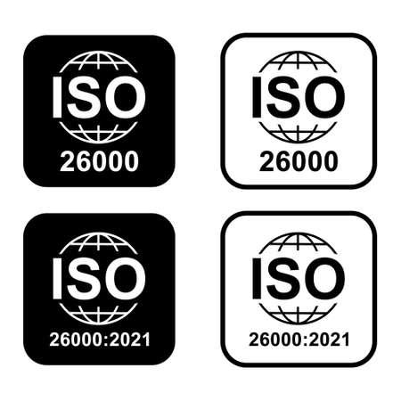 Set of Iso 26000 icon. Social Responsibility. Standard quality symbol. Vector button sign isolated on white background. Illustration