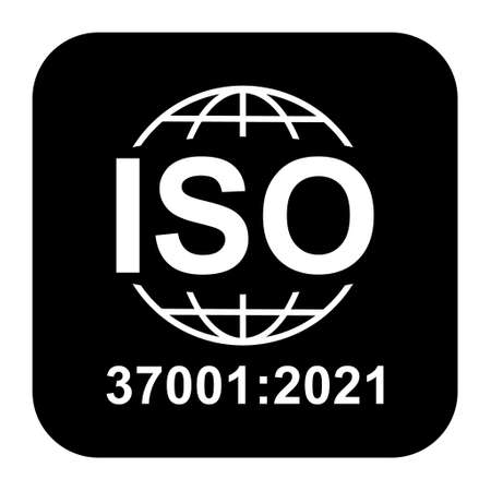 Iso 37001: 2021 icon. Anti-Bribery Management Systems. Standard quality symbol. Vector button sign isolated on black background.