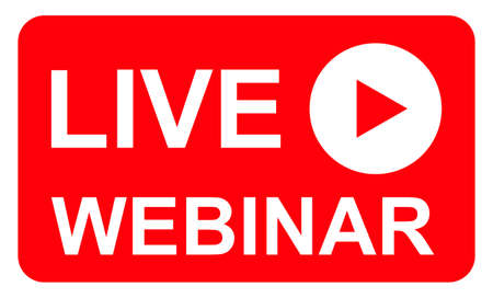 Live webinar icon, online play training seminar, internet streamimg banner button, vector illustration.