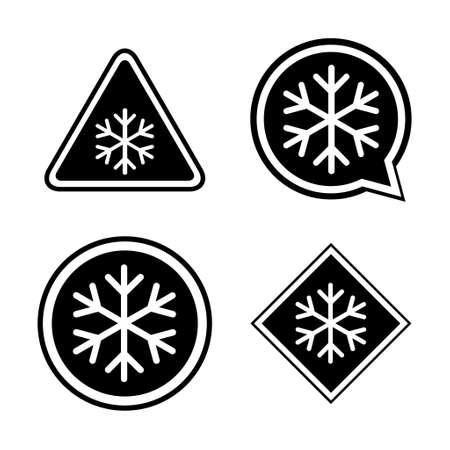 Set of snow winter icon, danger ice flake sign, risk alert vector illustration, careful caution symbol.