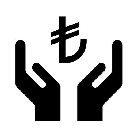 Hope icon, human hand with lira symbol, help and protection graphic design, support vector illustration.