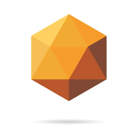 Low poly geometric polygon, transform triangle vector logo, art with shadow concept isolated on background.