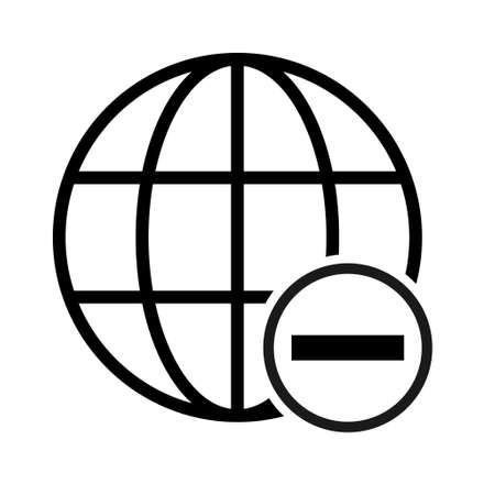 WWW world wide web site symbol, Internet map icon, website address globe, flat outline sign.
