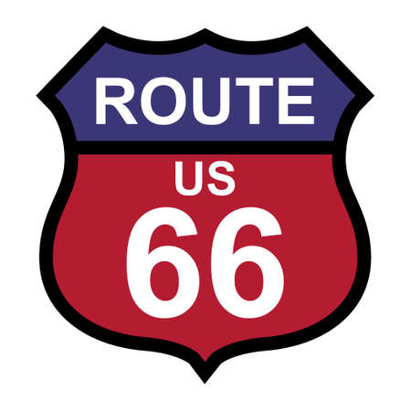 Route 66 classic icon, travel usa history highway, america road trip vector background. Illustration