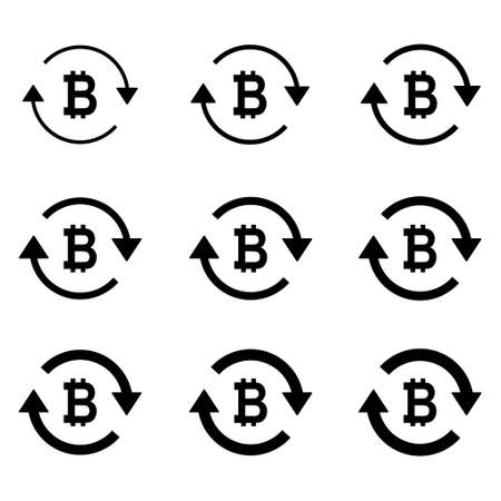 Set of bitcoin money icon, Collection of bit business sign, market economy vector illustration.