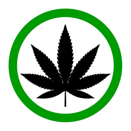Mariuhana leaf symbol, free marijuana or hemp icon, cannabis medical sign, weed drug vector illustration.