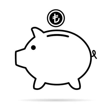 Piggy bank flat icon, vector sign with turkish lira web symbol. Money income, economic graphic button.