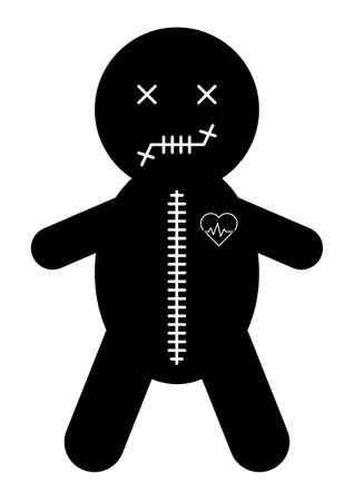 Voodoo doll icon, halloween death toy. Cartoon magic symbol, magical vector illustration. Illustration