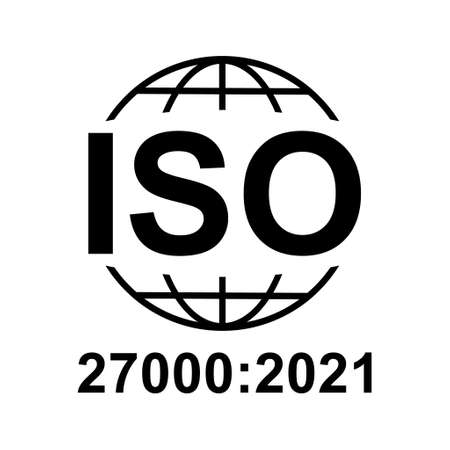Iso 27000 icon. Information Security Management System. Standard quality symbol. Vector button sign isolated on white background. Vettoriali