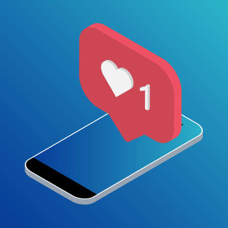 Follower isometric phone notification symbol for application  . App button for social media. Vector illustration icon.