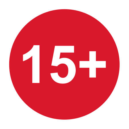15+ restriction flat sign isolated in red circle. Age limit symbol. No under fifteen years warning illustration.