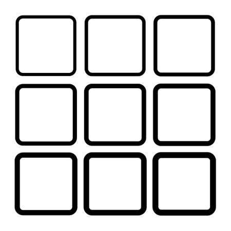 Set of empty frame, collection of outline border design isolated on white background. Black line illustration.