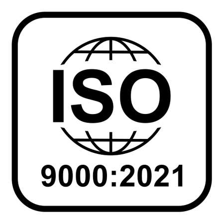 Iso 9000: 2021 icon. Standard quality symbol. Vector button sign isolated on white background. Illustration