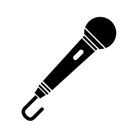 Microphone icon, audio speech symbol, record concert sign, web button design, karaoke flat speak.