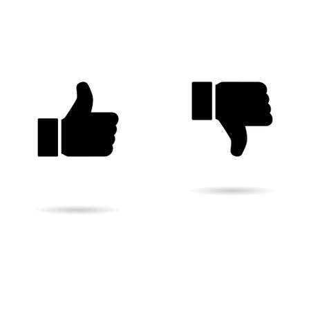 Thumb up and down with shadow icon, like finger vector illustration sign, business social web button.