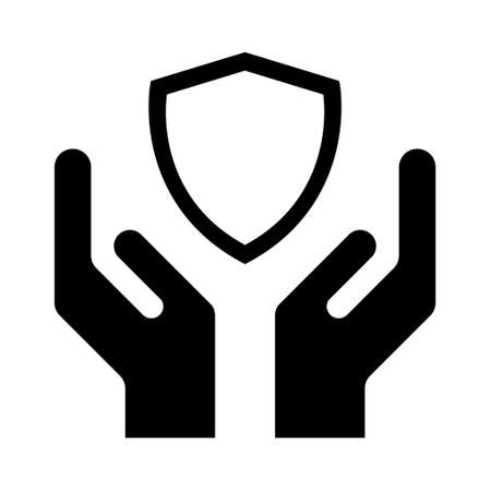 Hope icon, human hand with shield symbol, help and protection graphic design, support vector illustration. Illustration