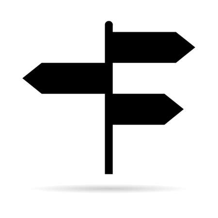 Signpost street vector illustration, road arrow symbol isolated on white background, web pointer. Illustration