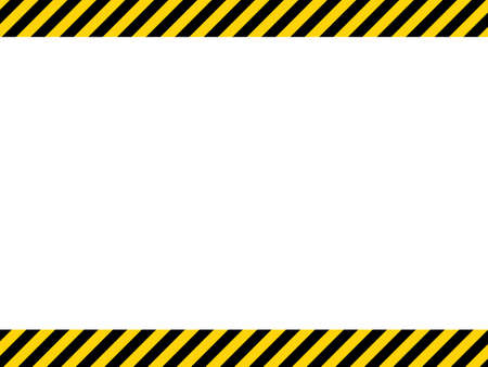 Black and yellow diagonal line striped. Blank vector illustration warning background. Hazard caution sign tape. Space for attention text. Vector Illustration