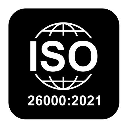 Iso 26000: 2021 icon. Social Responsibility. Standard quality symbol. Vector button sign isolated on black background.