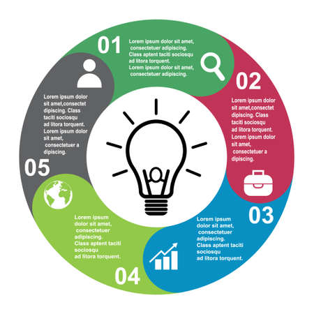 5 steps vector element in five colors with labels, infographic diagram. Business concept of 5 steps or options with bulb. 向量圖像