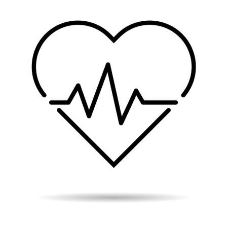 Hearth beat line icon, health medical heartbeat symbol isolated on white background, hospital logo, vector illustration.