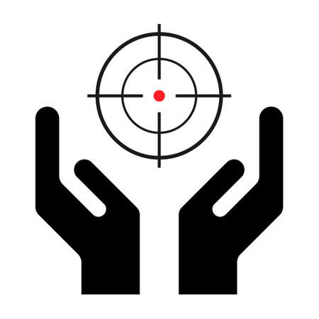 Hope icon, human hand with Crosshair symbol, help and protection graphic design, support vector illustration.