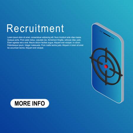 Recruitment template vector icon isometric. Modern target illustration of crosshair symbol for web design. Were hiring.