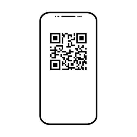 Cellphone scan flat icon isolated on white background. QR code reader vector illustration.