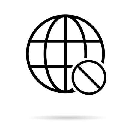 WWW world wide web site symbol, Internet map icon, website address globe, flat outline sign.