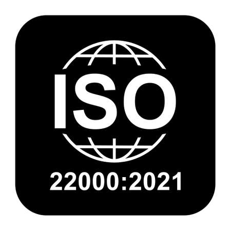 Iso 22000: 2021 icon. Food Management Systems. Standard quality symbol. Vector button sign isolated on black background.