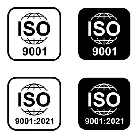 Set of Iso 9001 icon. Standard quality symbol. Vector button sign isolated on white background.