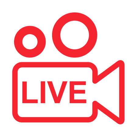 Live streaming icon. Modern air vector button design isolated on white background.