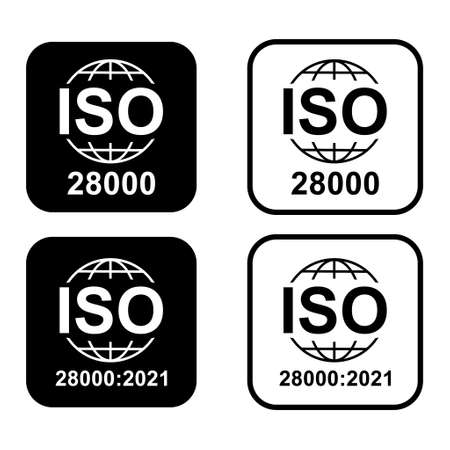set of Iso 28000 icon. Security Management Systems. Standard quality symbol. Vector button sign isolated on white background.