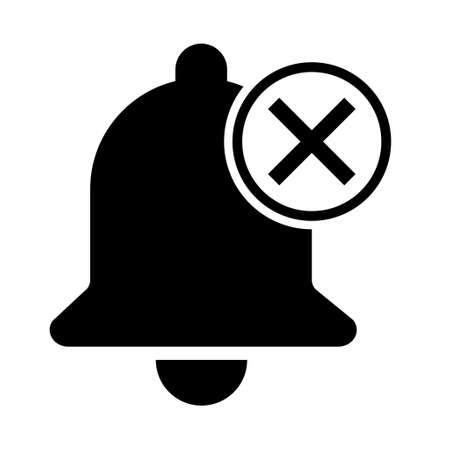 Bell alert icon isolated on white background, black alarm vector illustration symbol, ring web signal.