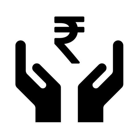 Hope icon, human hand with rupee symbol, help and protection graphic design, support vector illustration.