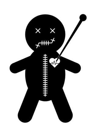Voodoo doll icon, halloween death toy. Cartoon magic symbol, magical vector illustration. 向量圖像