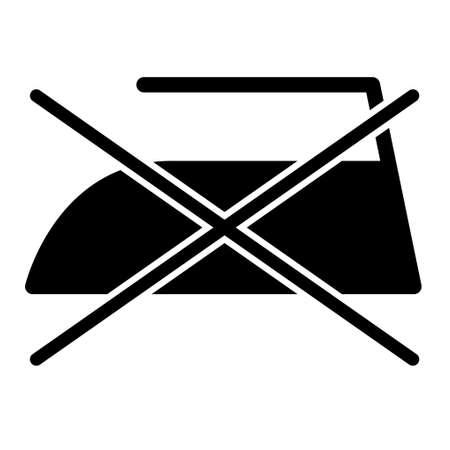 Don´t black iron flat icon isolated on white background. No ironing symbol. Machine vector illustration.